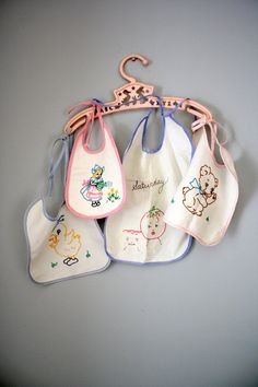 Vintage embroidered baby bibs,1950's.