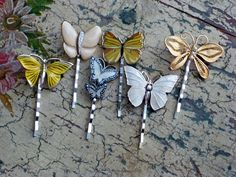 Sweet vintage/retro butterfly destash hairpins - created for a WI field wedding...www.twinkletoesmadison.etsy.com