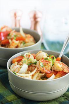 Cajun Garlic Shrimp Noodle Bowls Shared on https://www.facebook.com/LowCarbZen | #LowCarb #GlutenFree #Zoodles #Shrimp #Lunch #Dinner