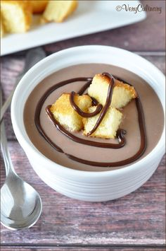How awesome is this?? Milk Chocolate Soup with Pound Cake Croutons - I am definitely making for Valentine's Day! From the lovely Amy at @Veronica Ryczko Culinary