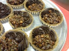 Chocolate Carmel Nut Tarts, Sweet and Salty like us!