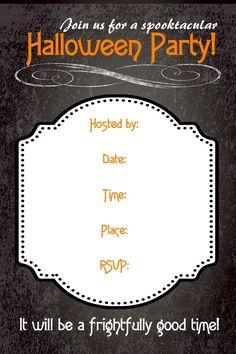 Free Halloween party invitations! #freeprintables #halloween #invitation