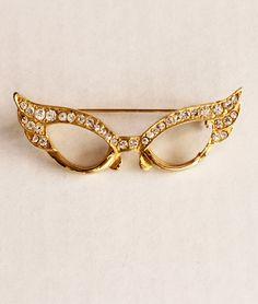 1950s Cat Eye Glasses Pin. via Etsy.