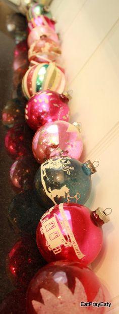 A Shabby Chic Christmas Vintage Christmas Ornaments by EatPrayEtsy vintag christma, shabby chic christmas, christma vintag, vintag ornament, christma ornament, vintage christmas ornaments