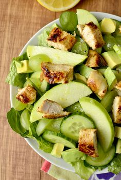 Spinach Chicken Salad with Cucumber, Avocado, Apples, and Grapes::