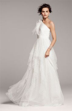 Carmen Marc Valvo Dotted Tulle One-Shoulder #Gown | #bridal #wedding #dress