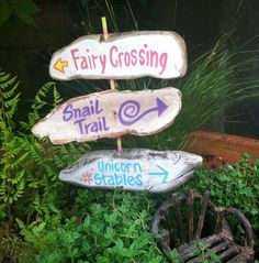 garden fairy sign post with 3 signs rustic by NatureScavenger, $12.50