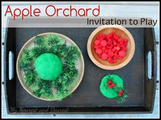Apple Orchard Invitation to Play from My Nearest and Dearest. Pretend play, fine motor practice, math concepts and so much more!