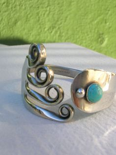 Fork bracelet with blue Turquoise -Upcycled jewelry