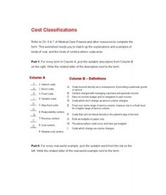 hca 270 week 3 cost classification worksheet part ii Hca 270 week 1 assignment  part ii: for each real-world  hca 270 week 3 cost classification.