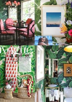 tropische inrichting huis - kleurrijk behang - tropisch behang met ...
