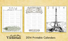 2014 free printable calendars from http://callmevictorian.com/1352/free-printable-2014-calendars/