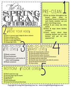 Awesome Spring Cleaning Checklist! #cleaning