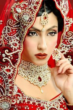 Red and Gold Embroidery Done. Beautiful Punjabi Bridge. indian outfit, indian women, bridg