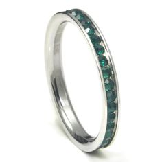316L Stainless Steel Emerald Green Cubic Zirconia CZ Eternity Wedding 3MM Band Ring Comes with FREE Gift Bo Stainless Steel Emerald Green Cubic Zirconia CZ Eternity Wedding 3MM Band Ring Comes with FREE Gift Box 316L