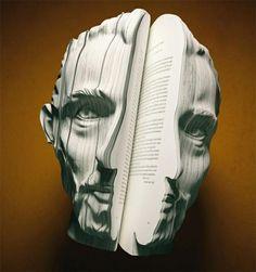 Facebook books, book art, book sculpture, book worth, street art, facebook, paper art, face book, deconstruct book