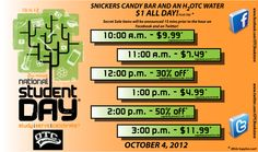 Ozarks Technical Community College Bookstore is participating in National Student Day 2012. Starting at 10am, they are having hourly secret sales. Make sure to follow their Facebook and Twitter pages because they will be announced what the product and price will be 15 minutes prior to the start of the hourly sale. Make sure you stop by on October 4th, 2012 for additional deals and promotions.