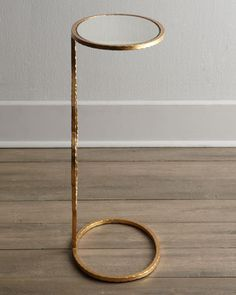 Horchow floating brass + glass side table