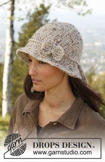 """Crochet DROPS hat in """"Eskimo"""". ~ DROPS Design"""