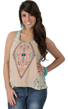 Flying Tomato® Women's Cream Lace with Aztec Embroidery Fashion Tank Top