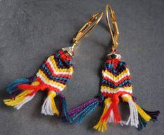 Friendship Bracelet Inspired Earrings (tutorial) bracelet brésilien, bracelet earring, crafti mccraftyp, bijoux, craft idea, jewelri diy, friendship bracelets, bracelet inspir, earrings
