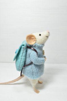Traveler Mouse - unique - needle felted ornament animal - feltingdreams on etsy