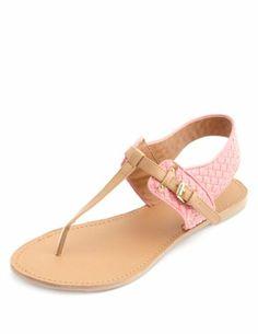 Basket-Weave T-Strap Thong Sandals: Charlotte Russe