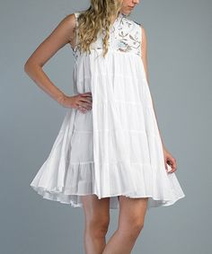 Take a look at this White Embroidered Dress by Kaktus on #zulily today!