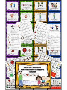 I Can Stay Calm (social stories for students with autism).  Four social tories (1 shown in pin) in 2 different formats as well as visual cues to support them. It includes the 4 social narratives regarding using a calm down routine to be ready for class, to calm down when excited, before being aggressive and asking for a break.  Includes visual supports for choices and option cards and break cards. $4.50