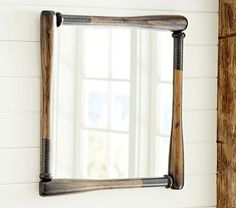 Baseball Framed Mirror. When they get their own bathroom for over the sink. #pbkids
