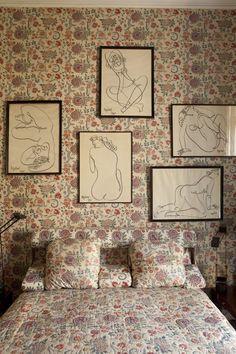 interior design, pattern, guest bedrooms, pari, charcoal drawings