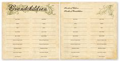 "Grandchildren's Chart - For The Record Collection  12"" x 12"" Double Sided Cardstock  This paper is great for the scrapbooking genealogist. 'Grandchildren's Chart' from Paper Loft is a lovely family tree chart."
