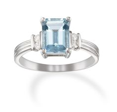 Aquamarine and 14k White Gold Emerald Cut Ring