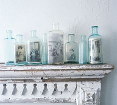 old photos in bottles, sweet display idea