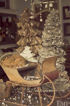 holiday, fabric christma, burlap tree, window displays, vintage christmas display, christma tree, sled, paper trees, christmas trees