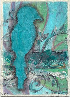 Crackle Bird Collage by Esther Orloff.  Made for a friend who loves birds and turquoise