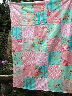 Romantic Roses patchwork and minky blanket