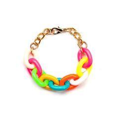 Link Chain Bracelet in Neon Multi.