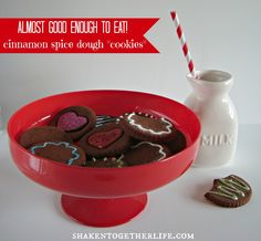 """CUTE! cinnamon spice dough Valentine's """"cookies"""" - for decorating (not eating)!"""