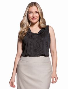 plus size cowl neck shell top by eloquii. all of their stuff is just perfect for work!