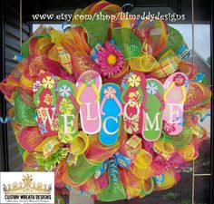 Welcome Summer Flip Flop Wreath by lilmaddydesigns on Etsy, $115.00