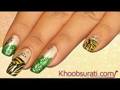 Glittery tiger nails By Khoobsurati.com
