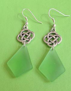 Green Sea Glass Celtic Knot Earrings by joytoyou41 on Etsy, $18.00