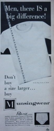 1950s ad Mens Underwear MUNSINGWEAR PAK-NIT BRIEFS TEE-SHIRT