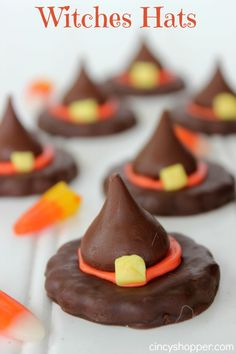 Halloween Witch Hats Treats. These are so simple yet they always grab everyone's attention at our Halloween Parties.
