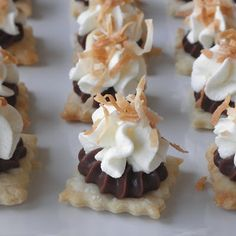 Mini Party Desserts:These are SUCH a perfect idea - mini pies!!! Just cut out pie crust with a cookie cutter, dab filling, dab of whipcream and finish off with some garnish!  You can make any combination (and just cheat and buy some premade fridge crust!)