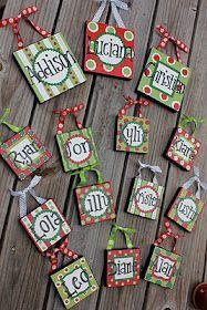canvas Christmas ornaments