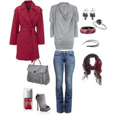 cranberry and silver, created by kristen-344 on Polyvore