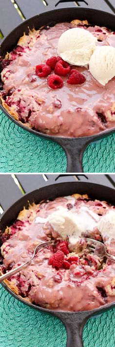 Hot Raspberry Cake!! This recipe is incredible and so easy. You glaze the cake fresh out of the oven, top it with vanilla bean ice cream, and devour!