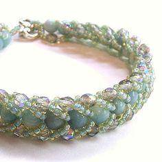 Lovely hand woven bracelet by Too Fancy Jewellery. Love the jade-blue Amazonite, so elegant.